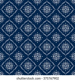 Blue and white ornamental repeat pattern. Vector. Seamless print.