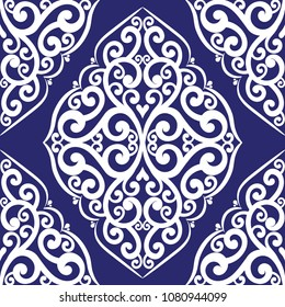 Blue and white ornamental seamless pattern. Vintage, paisley elements. Ornament. Traditional, Ethnic, Turkish, Indian motifs. Great for fabric and textile, wallpaper, packaging or any desired idea.