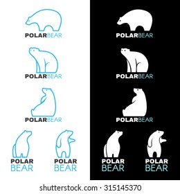 Blue white Polar bear logo vector design