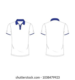 Blue and white polo T-shirt template using for fashion cloth design and assessorie for designer to make mock up or blue print in copany.
