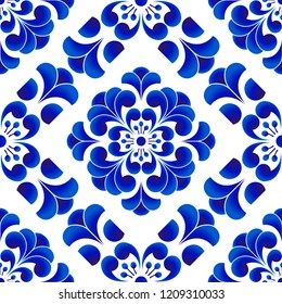Blue and white porcelain flower pattern Chinese and Japanese style, ceramic floral seamless background, beautiful tile design, vector illustration