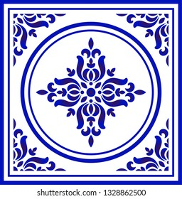 Blue and white porcelain flower pattern Chinese and Japanese style, ceramic seamless background, ceiling design, Big floral element in center is frame, beautiful tile design, vector illustration