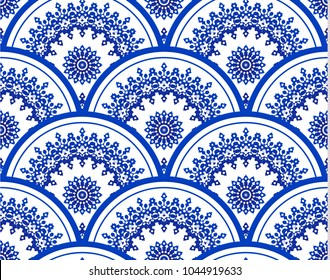 blue and white porcelain Seamless, Mandala background design, Islam, Arabic, Indian, ottoman motifs, Endless pattern can be used for ceramic tile, wallpaper, wrapping paper, invitation card
