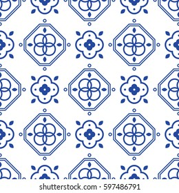 Blue and white portugeese mediterranean seamless tile pattern. Geometric monochrome shapes vector texture for ceramic design, textile and wallpaper.