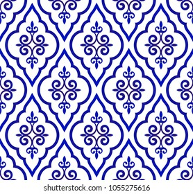blue and white royal pattern, Seamless background Islamic classic style, vintage elements for design floor and wall, Abstract Orient wallpaper decor vector illustration