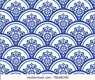 blue and white seamless pattern vector illustration, Floral ornament on watercolor backdrop. Chinese porcelain painting design