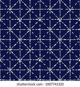Blue and white shibori traditional fabric tie dye seamless pattern, vector