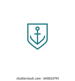 Blue and white simple vector flat line art symbol of anchor in the shield frame