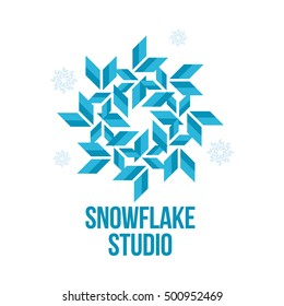 blue and white snowflake vector logo templates isolated on white background. Geometrical abstract snowflake logo, frozen product, Christmas celebration, winter activities icon design