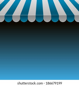 Blue and White Strip Shop Awning with Space for Text.Vector