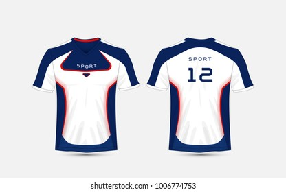 Blue, White and blue stripe pattern sport football kits, jersey, t-shirt design template