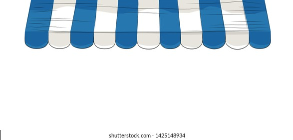Blue and white striped sunshade awning, Outdoor awning, Banner background, Vector illustration isolated on white background