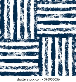Blue and white striped woven grunge seamless pattern, vector