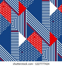 Blue and white stripes modern geometric seamless pattern. Repeatable motif with striped and polka dot textures. Vector illustration.