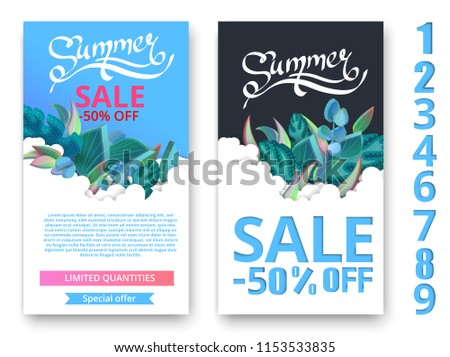 9db125af9 Blue and white summer sale posters with green beautiful 3d leaves and  figures. Promotion or