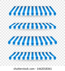 Blue and white sunshade. Outdoor awnings for cafe and shop window isolated vector set. Tent sunshade for market, stripe summer scallop for store illustration