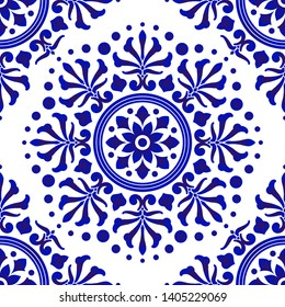 blue and white tile pattern, abstract floral decorative seamless background for design, porcelain, chinaware, ceramic, tile, ceiling, texture, mandala, wallpaper, floor and wall, vector illustration