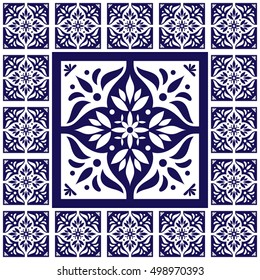 Blue white tiles floor - lace pattern vector with ceramic cement tiles. Big tile in center is framed. Background with portuguese azulejo, mexican talavera, spanish, delft, italian motifs.