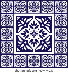 Blue white tiles floor - pattern vector with ceramic cement tiles. Big tile in center is framed in small. Background with portuguese azulejo, mexican talavera, spanish, delft, italian motifs.
