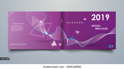 Blue, white, triangle, kurve lines icon. Bright leaves text frame. Patch a4 brochure cover design. Title sheet model set. Creative front page art. Ad banner theme. Modern flyer font. 2019. 2018. Year.