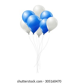Blue and white vector balloons isolated on white background.