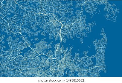 Blue and White vector city map of Sydney with well organized separated layers.
