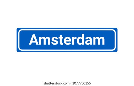 Blue And White Vector City Sign Of Amsterdam In The Netherlands