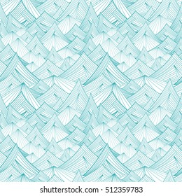 blue and white vector seamless pattern of mountain