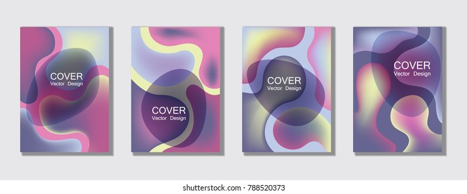 Blue, white and violet fluid colors cover page layout backgrounds set. Bubble fluid gradient shapes trendy A4 design for scientific cover, educational chemistry poster. Hipster futuristic vector