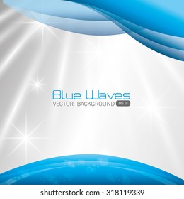 Blue and white waves colorful background design, vector illustration.