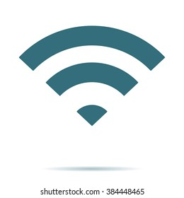 Blue WIFI icon isolated. Flat Wireless vector symbol. Modern simple flat network sign. Business, internet concept. Trendy vector broadcast symbol for web site. Logo illustration.