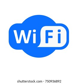 Blue wifi vector icon. Illustration on white background isolated