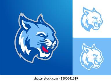Blue Wildcat Mascot Logo for Sports Team