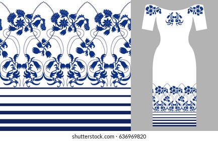 Blue wildflowers. Party dress design. Seamless vector pattern with flowers and damask elements. Summer textile collection.