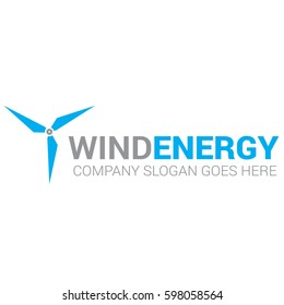 Blue wind energy turbine logo vector, electricity generators icon