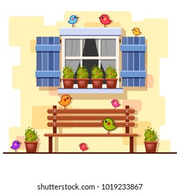Blue window on a brick wall with a bench, pots with plants and little birds. Vector building elements. Cartoon house illustration. Cute colorful yard