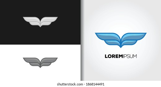 blue wings logo set idea template vector