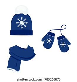 Blue winter clothes with snowflake. Knitted hat, scarf and mittens. Vector icon set