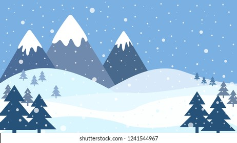 Blue winter landscape with snow, pine trees and mountains with white peaks. Landscape vector illustration.