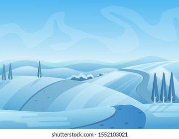 Blue winter landscape vector illustration. Snowy hills with trees. Road on snow. Wintertime, cold weather. Rural area under sky. Picturesque seasonal background. Frosty outdoor scene