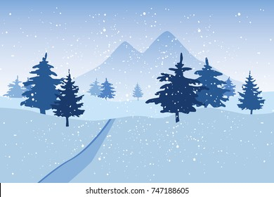Blue winter snowy landscape with trees and mountains. Coniferous forest vector illustration