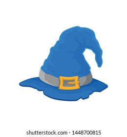 Blue wizard hat with torn edges. Vector illustration on white background.