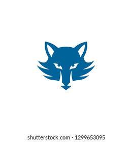 blue wolf icon, wolf head graphic logo, isolated on white background.