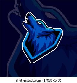 Blue wolf mascot esport logo for esport team
