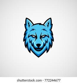 Blue wolf mascot logo vector