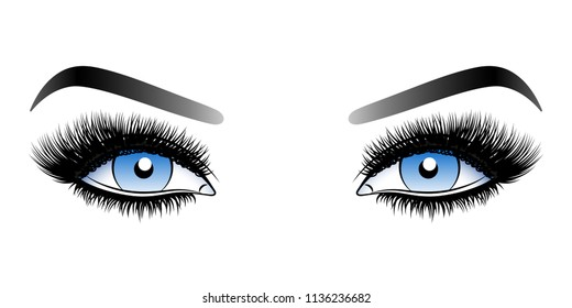 Blue woman eyes with long false lashes with eyebrows.Vector illustration isolated on white background. Ink drawing. Eye makeup.