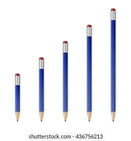 Blue wooden sharp pencils