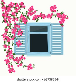 Blue wooden window with beautiful curly pink flowers