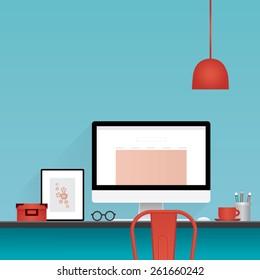 blue work room interior illustration, vector