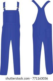 Blue work wear bib. vector illustration